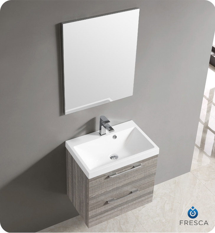 Fresca FVN8506MA 24 Wall Mount Matte Modern Bathroom Vanity With Mirror