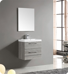 "Fresca FVN8506MA 24"" Wall Mount Matte Modern Bathroom Vanity with Mirror and Faucet Ash Gray"