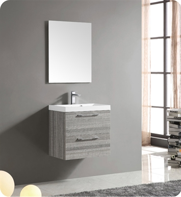 "Fresca FVN8506MA Siena 24"" Modern Bathroom Vanity with Mirror and Faucet in Matte Ash Gray"