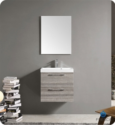 Fresca 24 inch Wall Mount Matte Modern Bathroom Vanity with Mirror and Faucet Ash Gray