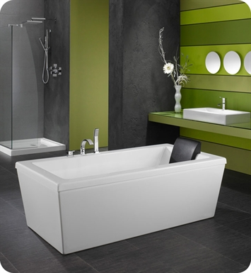 "Neptune AM3666CMA Ametys 66"" x 36"" Customizable Rectangular Freestanding Bathroom Tub With Jet Mode: Mass-Air + Activ-Air Jets"