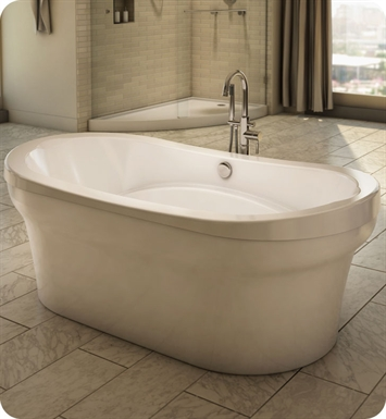"Neptune Revelation 66"" x 36"" Customizable Oval Freestanding Bathroom Tub With Jet Mode: Mass-Air Jets"