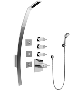 Graff GF1.130A-C14S-PC Luna Thermostatic Shower Set with Body Sprays and Handshower With Finish: Polished Chrome