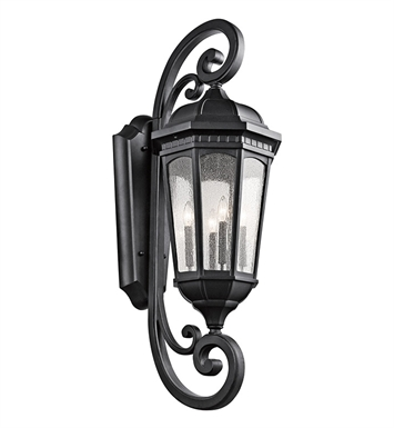 Kichler 9081BKT Courtyard Collection 4 Light Outdoor Wall Sconce in Textured Black