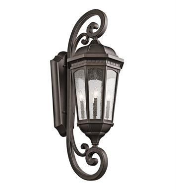 Kichler 9081RZ Courtyard Collection 4 Light Outdoor Wall Sconce in Rubbed Bronze