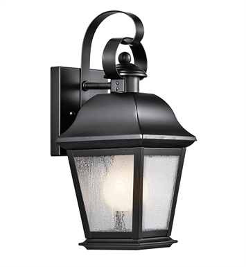 Kichler 9707BK Mount Vernon Collection 1 Light Outdoor Wall Sconce in Black (Painted)