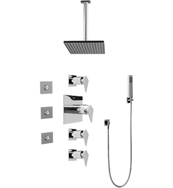 Graff GC1.121A-LM23S-SN Contemporary Square Thermostatic Set with Body Sprays and Handshower With Finish: Steelnox (Satin Nickel)