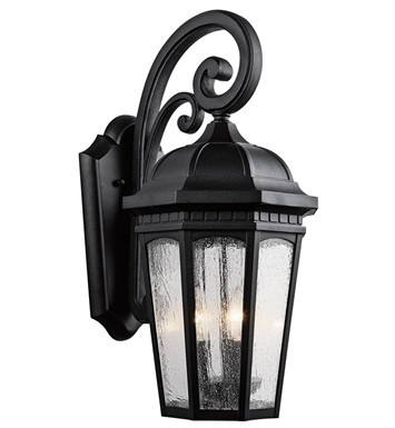 Kichler 9034BKT Courtyard Collection 3 Light Outdoor Wall Sconce in Textured Black