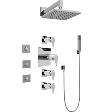 Graff GC1.122A-LM23S-PC Contemporary Square Thermostatic Set with Body Sprays and Handshower With Finish: Polished Chrome