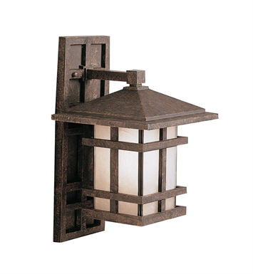 Kichler 9130AGZ One Light Outdoor Wall Sconce in Aged Bronze
