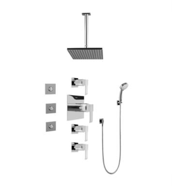 Graff GC1.131A-LM38S-PC Qubic Contemporary Square Thermostatic Set with Body Sprays and Handshower With Finish: Polished Chrome And Rough / Valve: Trim + Rough