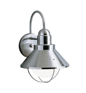 Kichler 9023NI Seaside Collection 1 Light Outdoor Wall Sconce in Brushed Nickel