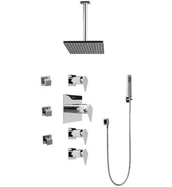 Graff GC1.221A-LM23S Contemporary Square Thermostatic Set with Body Sprays and Handshower