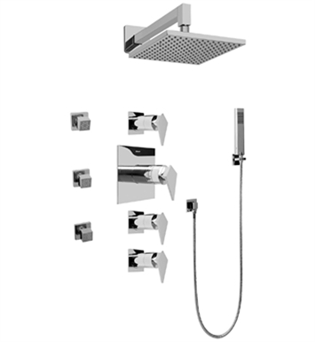 Graff GC1.222A-LM23S-PC Contemporary Square Thermostatic Set with Body Sprays and Handshower With Finish: Polished Chrome