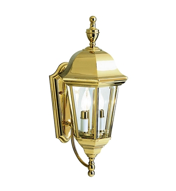 Kichler Grove Mill Collection 2 Light Outdoor Wall Sconce in Polished Brass