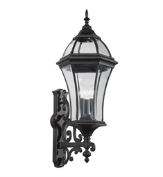 Kichler Townhouse Collection 3 Light Outdoor Wall Sconce in Black (Painted)