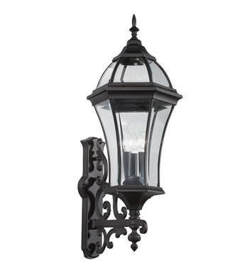 Kichler 49185BK Townhouse Collection 3 Light Outdoor Wall Sconce in Black (Painted)