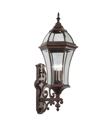 Kichler 49185TZ Townhouse Collection 3 Light Outdoor Wall Sconce in Tannery Bronze