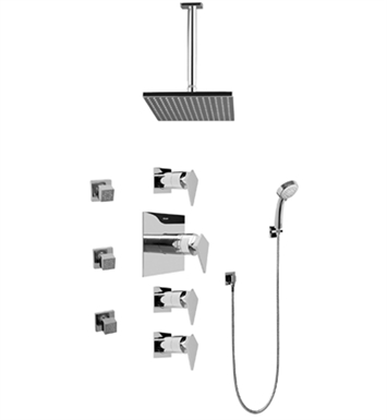Graff GC1.231A-LM23S Contemporary Square Thermostatic Set with Body Sprays and Handshower