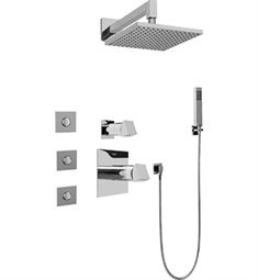 Graff GC5.122A-C10S Contemporary Square Thermostatic Set with Body Sprays and Handshower