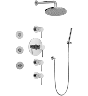 Graff GB1.122A-LM37S-PC/BK Contemporary Round Thermostatic Set with Body Sprays and Handshower With Finish: Architectural Black w/ Chrome Accents