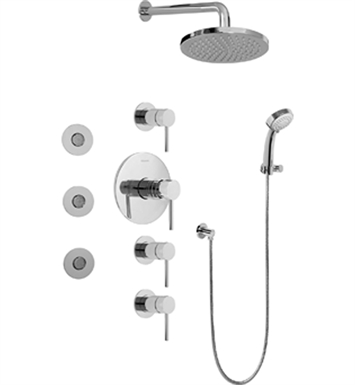 Graff GB1.132A-LM37S-SN Contemporary Round Thermostatic Set with Body Sprays and Handshower With Finish: Steelnox (Satin Nickel)