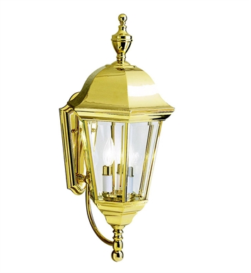 Kichler 9489PB Grove Mill Collection 3 Light Outdoor Wall Sconce in Polished Brass