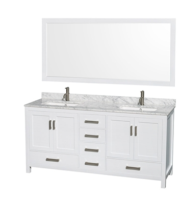 Wcs141472dwh disabled sheffield 72 double sink bathroom vanity by wyndham collection in white for Sheffield 72 double bathroom vanity