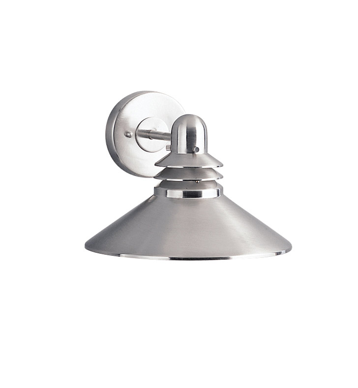 Kichler 9044NI One Light Outdoor Wall Sconce in Brushed Nickel