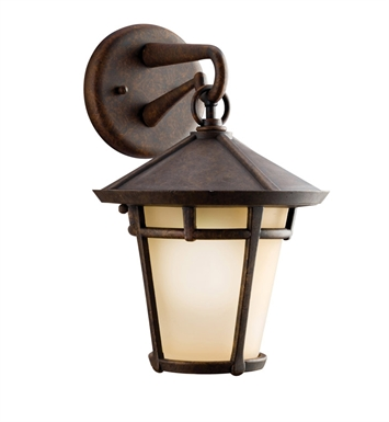 Kichler 9052AGZ One Light Outdoor Wall Sconce in Aged Bronze