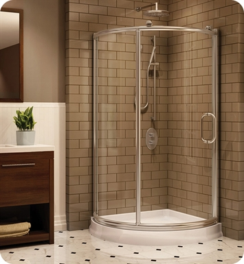 Fleurco FRM36-11-40 Forte Roma Arc Corner Shower Enclosure With Hardware Finish: Bright Chrome And Glass Type: Clear Glass