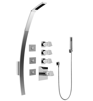 Graff GF1.120A-C10S Luna Thermostatic Shower Set with Body Sprays and Handshower