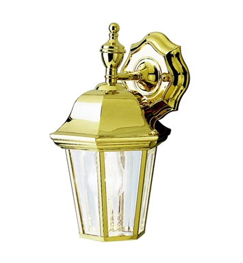 Kichler 9409PB Grove Mill Collection 1 Light Outdoor Wall Sconce in Polished Brass
