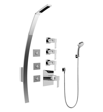 Graff GF1.130A-LM38S-SN Luna Thermostatic Shower Set with Body Sprays and Handshower With Finish: Steelnox (Satin Nickel)
