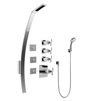 Graff GF1.130A-C9S-PC Luna Thermostatic Shower Set with Body Sprays and Handshower With Finish: Polished Chrome