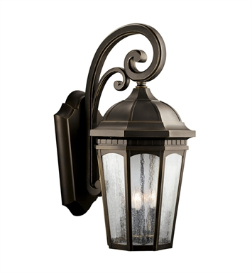 Kichler 9035RZ Courtyard Collection 1 Light Outdoor Wall Sconce in Rubbed Bronze