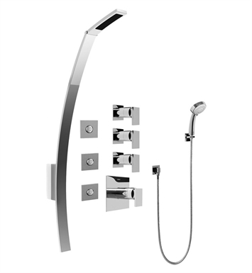 Graff GF1.130A-LM31S-SN Luna Thermostatic Shower Set with Body Sprays and Handshower With Finish: Steelnox (Satin Nickel)