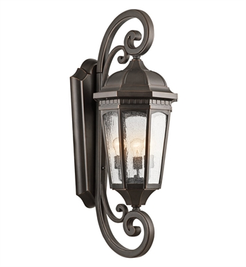 Kichler 9060RZ Courtyard Collection 3 Light Outdoor Wall Sconce in Rubbed Bronze