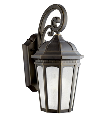 Kichler 11011RZ Courtyard Collection 1 Light Outdoor Wall Sconce in Rubbed Bronze