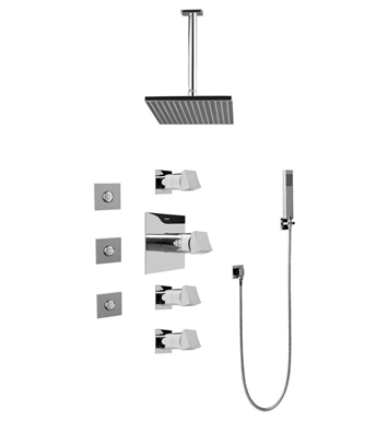 Graff GC1.121A-C10S-SN Contemporary Square Thermostatic Set with Body Sprays and Handshower With Finish: Steelnox (Satin Nickel)