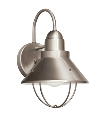 Kichler 11098NI Seaside Collection 1 Light Outdoor Wall Sconce in Brushed Nickel