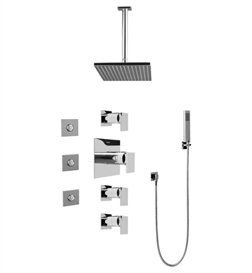 Graff GC1.121A-LM31S Contemporary Square Thermostatic Set with Body Sprays and Handshower