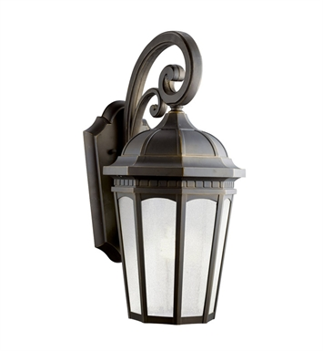 Kichler 11012RZ Courtyard Collection 1 Light Outdoor Wall Sconce in Rubbed Bronze