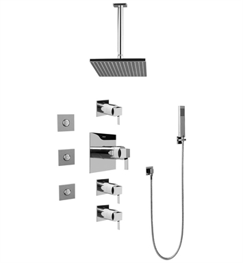 Graff GC1.121A-LM39S-SN Contemporary Square Thermostatic Set with Body Sprays and Handshower With Finish: Steelnox (Satin Nickel)