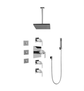 Graff GC1.121A-LM40S-SN Immersion Contemporary Square Thermostatic Set with Body Sprays and Handshower With Finish: Steelnox (Satin Nickel) And Rough / Valve: Rough