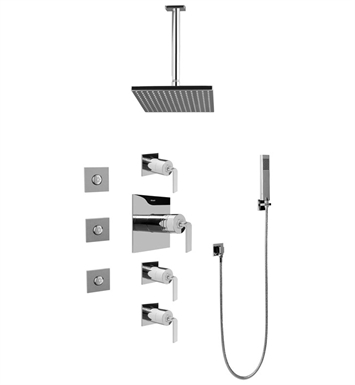 Graff GC1.121A-LM40S-SN Contemporary Square Thermostatic Set with Body Sprays and Handshower With Finish: Steelnox (Satin Nickel)