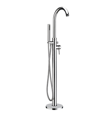 Whitehaus WHT7368S Bathhaus Tub Filler, Freestanding Single Lever with integrated Diverter Valve and Hand held Shower