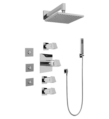 Graff GC1.122A-C10S Contemporary Square Thermostatic Set with Body Sprays and Handshower