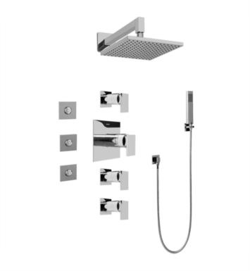 Graff GC1.122A-LM31S-SN Solar/Structure Contemporary Square Thermostatic Set with Body Sprays and Handshower With Finish: Steelnox (Satin Nickel) And Rough / Valve: Trim + Rough