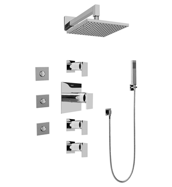 Graff GC1.122A-LM31S-PC Contemporary Square Thermostatic Set with Body Sprays and Handshower With Finish: Polished Chrome